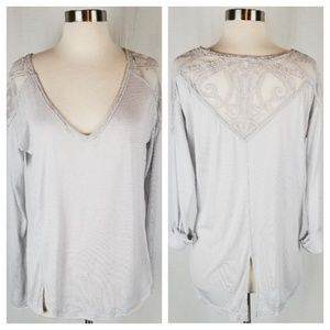Free People long sleeve split back top size small